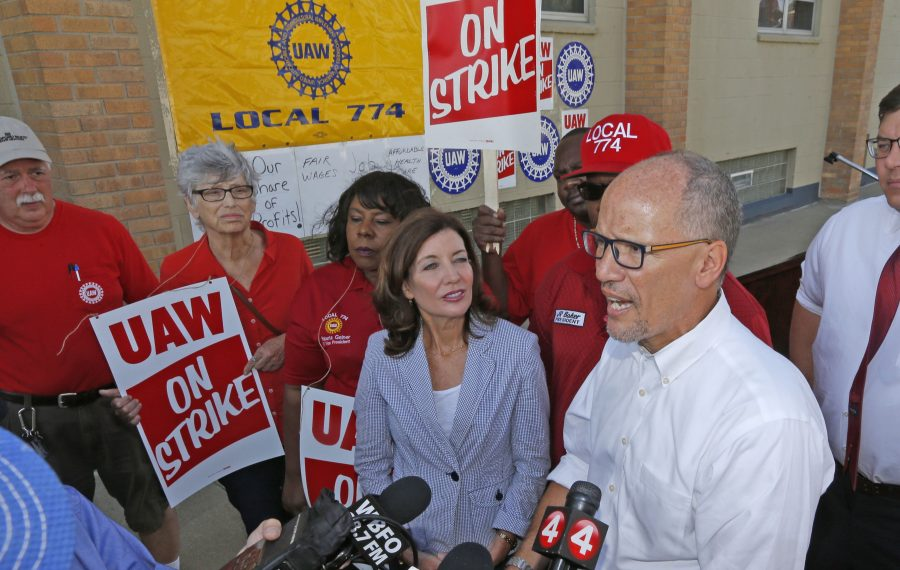 DNC Chairman Tom Perez, along with Lt. Gov. Kathy Hochul, left,  visited with striking auto workers at UAW Hall and the entrance to the nearby plant in Tonawanda on Wednesday, Sept. 18, 2019. (Robert Kirkham/Buffalo News)