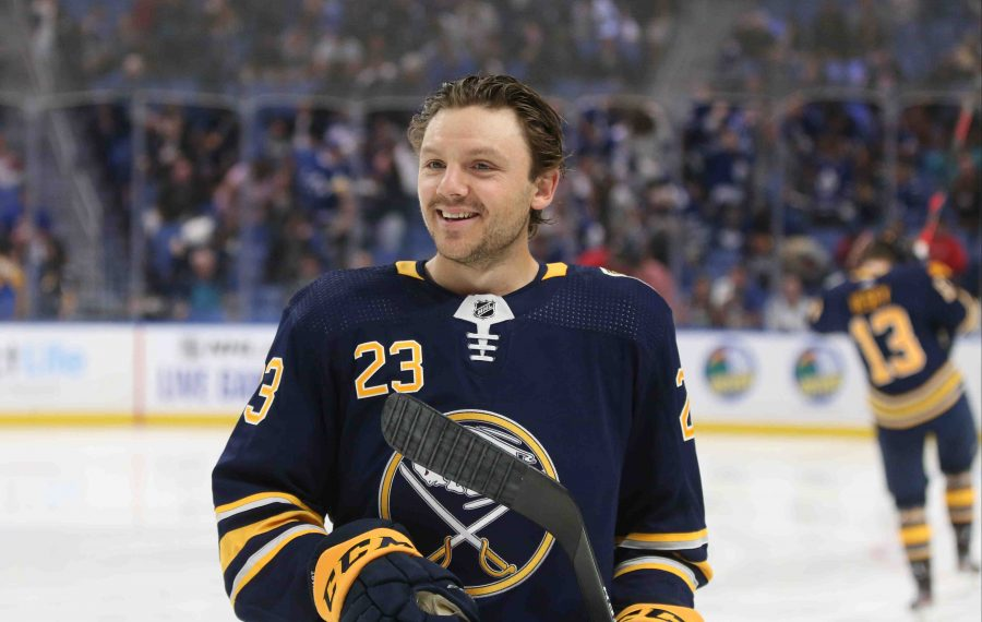 Buffalo Sabres center Sam Reinhart (23) skates back to the bench in the first period at Key Bank Center in Buffalo, NY on Saturday, Sept. 21, 2019.  James P. McCoy/Buffalo News