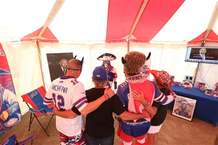Hundreds came to the Hammer Lot across Abbott Road from New Era Field on Saturday, Sept. 21, 2019, to honor Ezra Castro, who through his alter ego of Pancho Billa became known within the #BillsMafia – and the entire Bills fan base – for his unwavering enthusiasm and kindness in the name of his favorite football team.