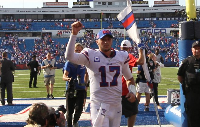 Buffalo Bills quarterback Josh Allen waves to the fans while leaving the game at New Era Field in Orchard Park on Sunday, Sept. 22, 2019.  (James P. McCoy/Buffalo News)
