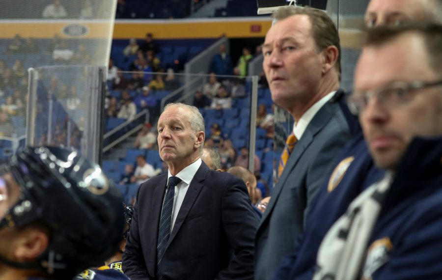 Buffalo Sabres Ralph Krueger directs his team from behind the bench in the first period at Key Bank Center in Buffalo, NY on Wednesday, Sept. 25, 2019.  James P. McCoy/Buffalo News