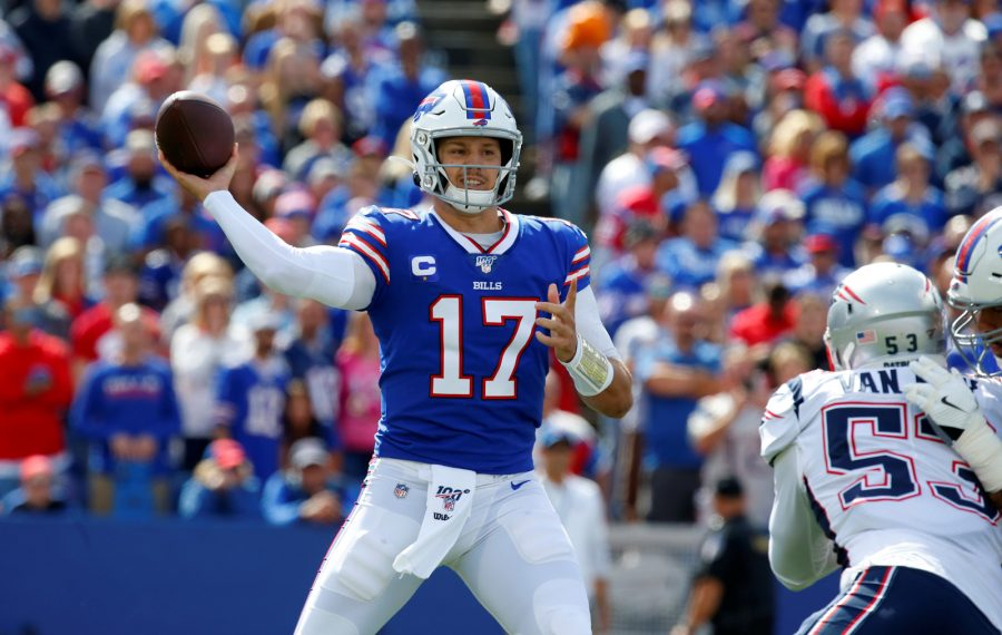 Bills quarterback Josh Allen throws against the New England Patriots during the first quarter at New Era Field. (Harry Scull Jr./Buffalo News)