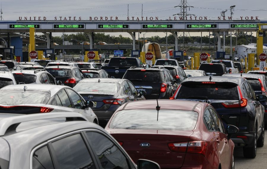 Backups at the Canadian border have occurred since the Trump administration cannibalized northern border staffing to bolster manpower at the southern border. In response, Sen. Charles E. Schumer and Rep. Brian Higgins are asking Congress to set minimum staffing requirements. (Derek Gee/Buffalo News)