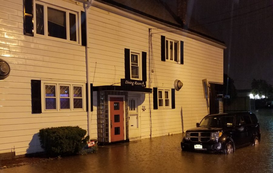 The side of Roaming Bison Tavern, which was flooded on Aug. 21. (Photo courtesy of Greg Herzog)