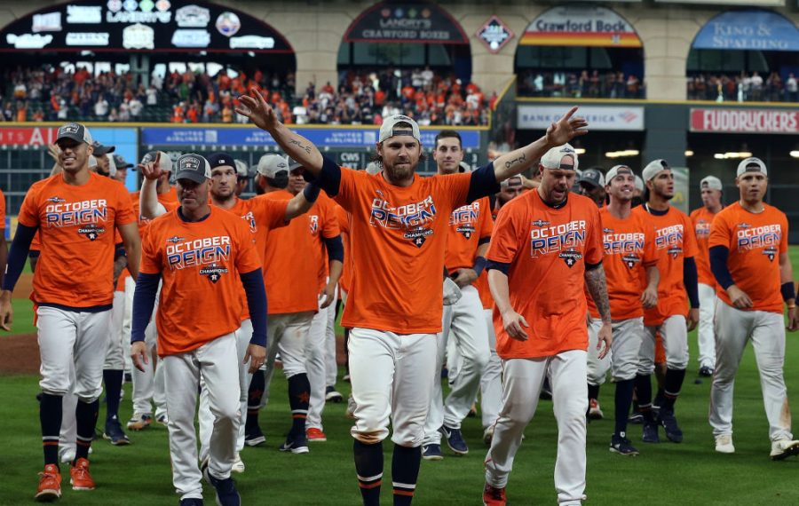 Josh Reddick and the Astros celebrate their AL West-clinching win over the Angels last week in Minute Maid Park (Getty Images).