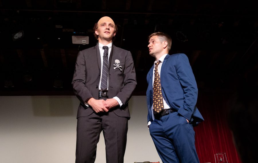 "David Rafailedes, left, and Mike Breen are hilarious in their play ""Cellino v. Barnes."" (Reed Kavner/Special to The News)"