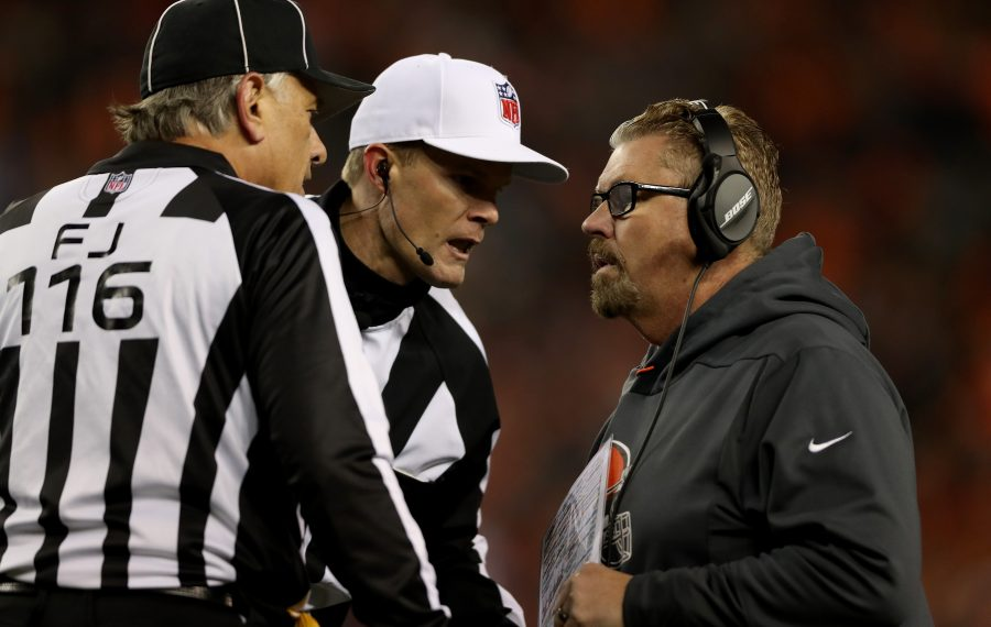 Current Jets defensive coordinator Gregg Williams talking to NFL referee Clay Martin. (Matthew Stockman/Getty Images)
