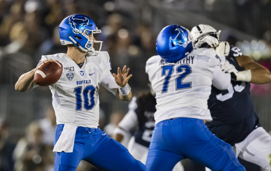 UB's Matt Myers attempts a pass against the Penn State Nittany Lions during the first half at Beaver Stadium on September 07, 2019 in State College, Pennsylvania.  (Scott Taetsch/Getty Images)