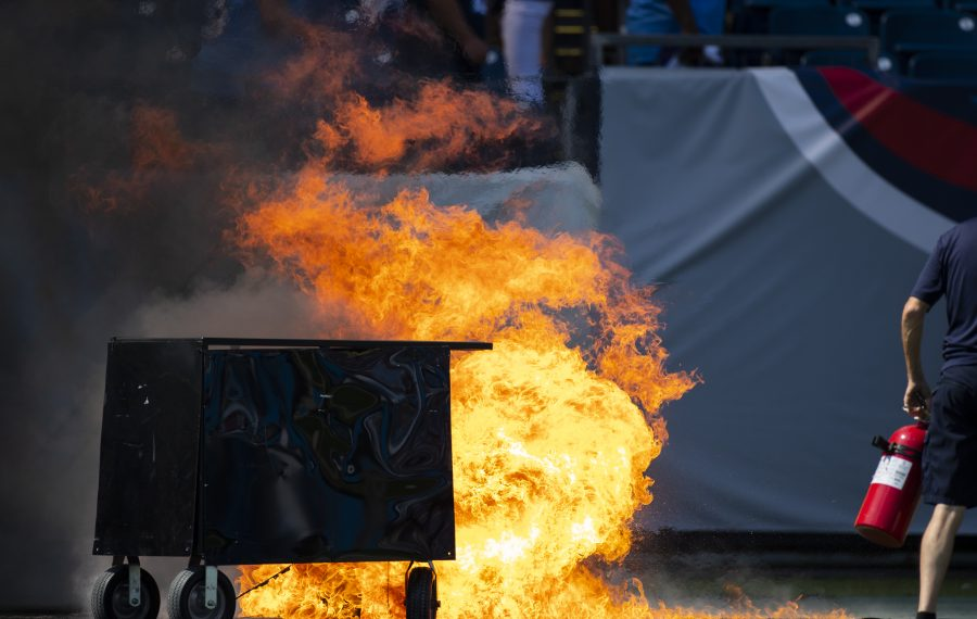 A failed pyrotechnic device bursts into flames before the game between the Tennessee Titans and the Indianapolis Colts at Nissan Stadium on Sept. 15, 2019, in Nashville.  (Brett Carlsen/Getty Images)