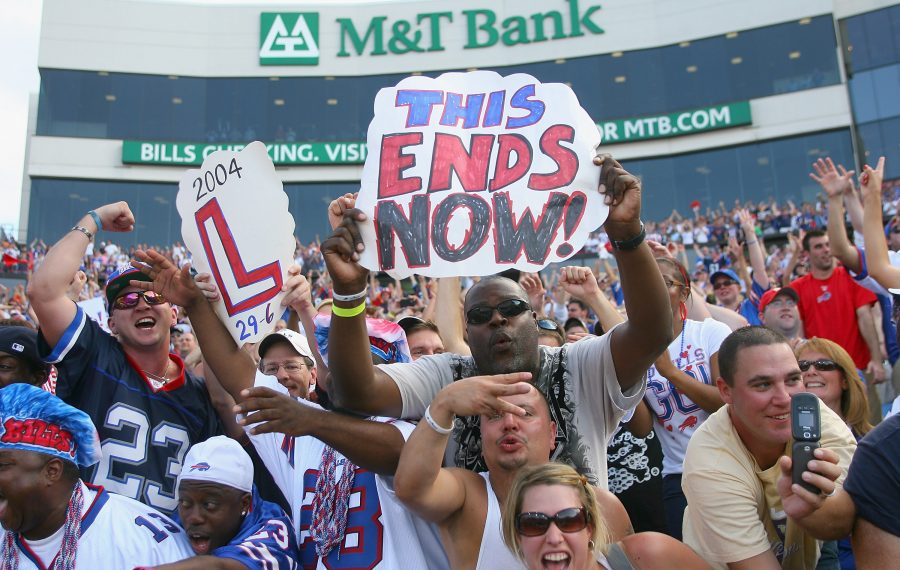 Bills fans celebrate a rare home victory over the New England Patriots in 2011. (Getty Images)