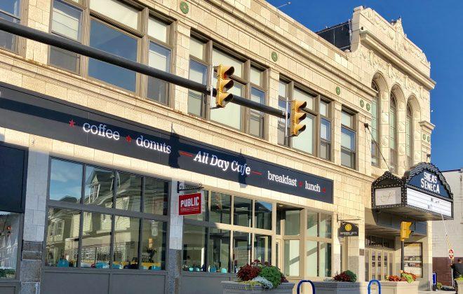 A new marquee now hovers above the entrance to the Shea's Seneca building. (Ben Tsujimoto/Buffalo News)