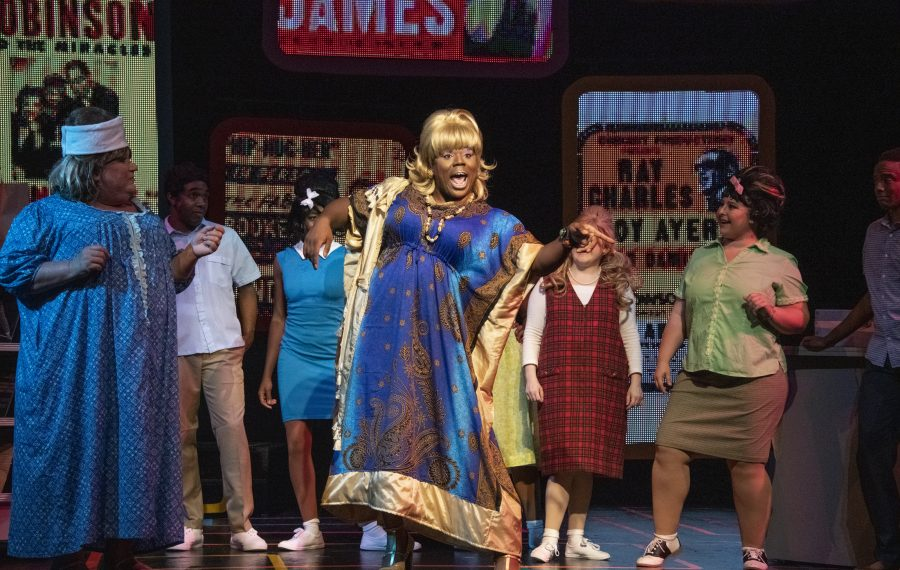 """Bill Lovern, Augustus Donaldson Jr., Gabriella McKinley, Lorenzo Parnell, Arin Dandes and Maeghan McDonald star in the Kavinoky Theatre's production of """"Hairspray."""" (Photo by Gene Witkowski)"""
