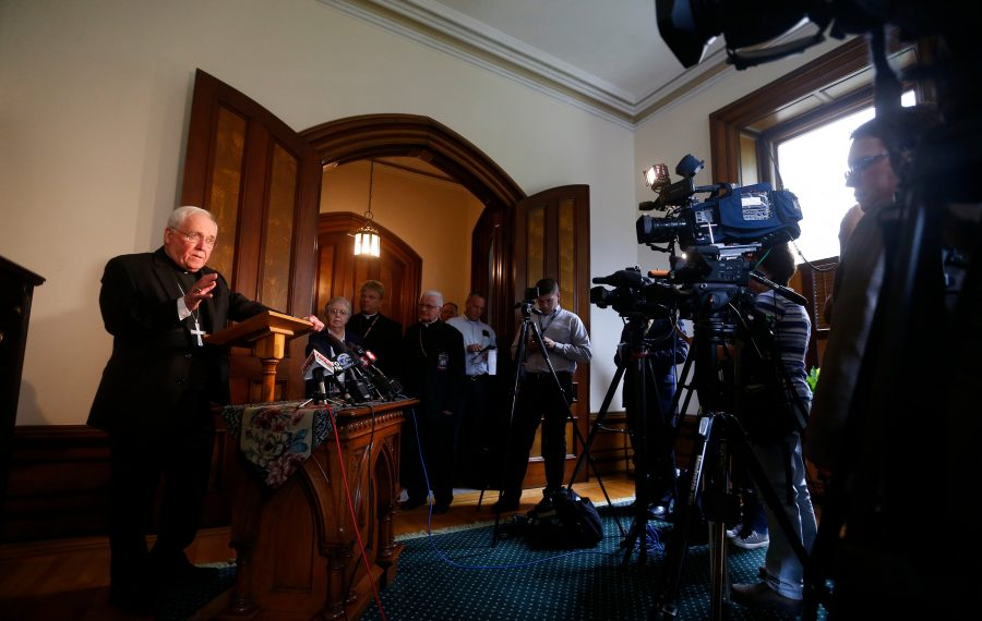 Bishop Richard J. Malone during a news conference last week. (Mark Mulville/Buffalo News)