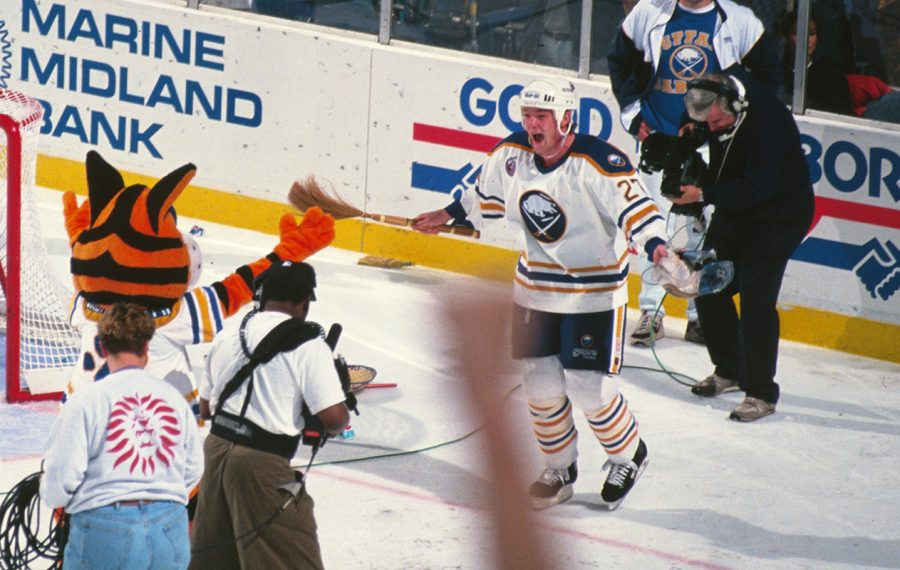 Brad May celebrates his game-winning overtime goal against the Boston Bruins on April 24, 1993. (Bill Wippert/Special to The News)