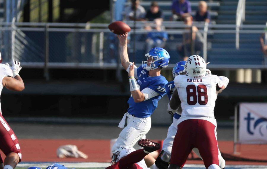 Buffalo Bulls quarterback Matt Myers  throws a pass in the second quarter at UB alumni field in Amherst, NY on Saturday, Sept. 21, 2019.  (James P. McCoy/Buffalo News)