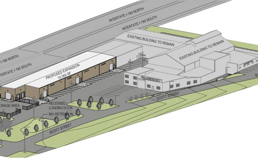 A diagram of the proposed expansion by Mollenberg-Betz on Scott Street. (Courtesy of Buffalo Planning Board)