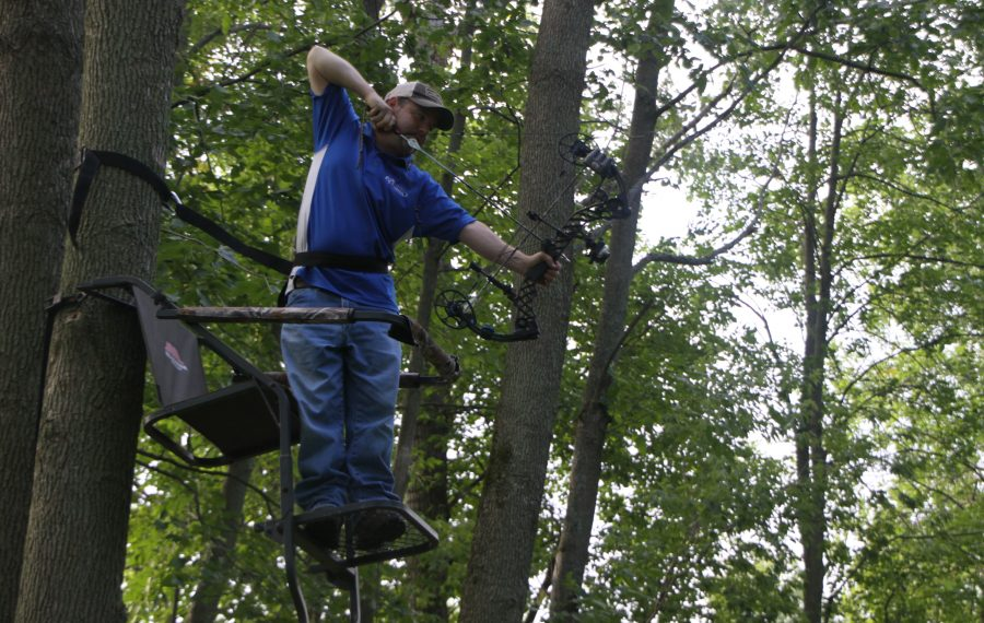 Jeff Pippard of North Tonawanda insists that you should practice from a tree stand if you are hunting from one to get the angles down. (Bill Hilts, Jr./Buffalo News)