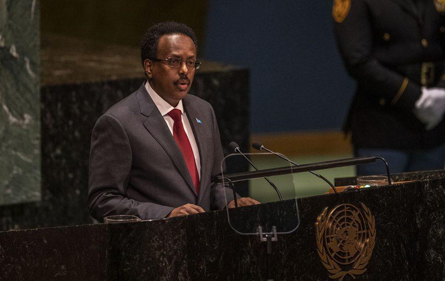 President Mohamed Abdullahi Mohamed Farmajo of Somalia, addresses the United Nations General Assembly, on Thursday, Sept. 26, 2019, in New York. (Brittainy Newman/The New York Times)