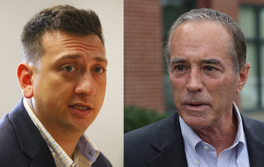 Medal of Honor winner David Bellavia, left, has not committed to running for the 27th District Congressional seat held by indicted incumbent Chris Collins. Collins has said he will make a decision about whether to run by the end of the year. (Bellavia photo by Derek Gee/Buffalo News, Collins photo by John Hickey/Buffalo News)