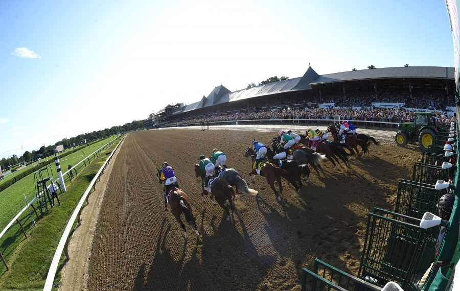 The start of the 2019 Travers Stakes, the signature race of the Saratoga Race Course meet.  Photo Credit: Adam Mooshian/NYRA