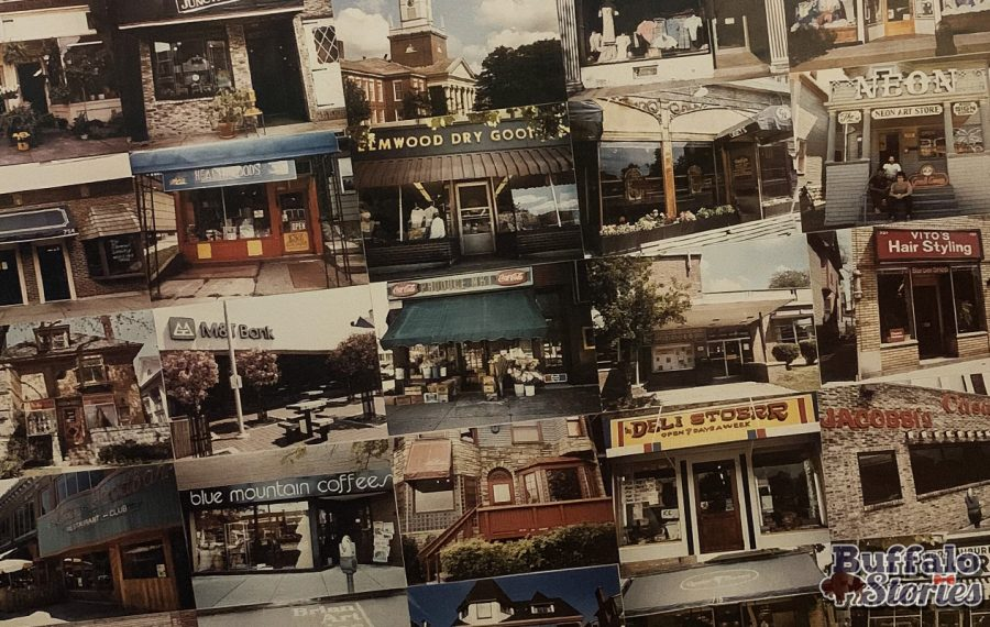 A poster from Poster Art celebrates Elmwood Avenue in the mid-1980s.