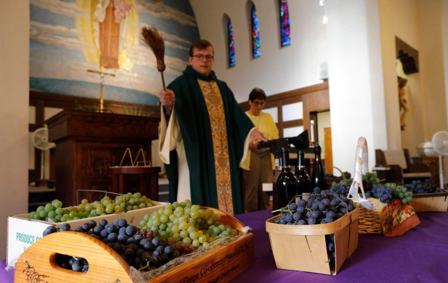 As grape harvest begins, Lake Erie farmers get a blessing and say a prayer