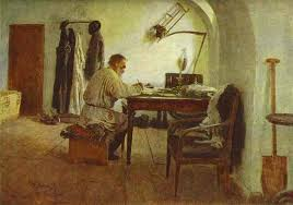 Leo Tolstoy in his study. Oil painting by Ilya Repin.  1891. (The State Literature Museum, Moscow)