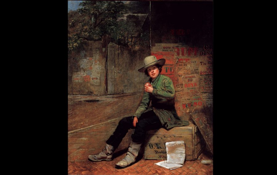"""Thomas LeClear painted """"Buffalo Newsboy"""" in 1853, just 20 years after history's first paperboy. (Image courtesy of the Albright-Knox Art Gallery)"""