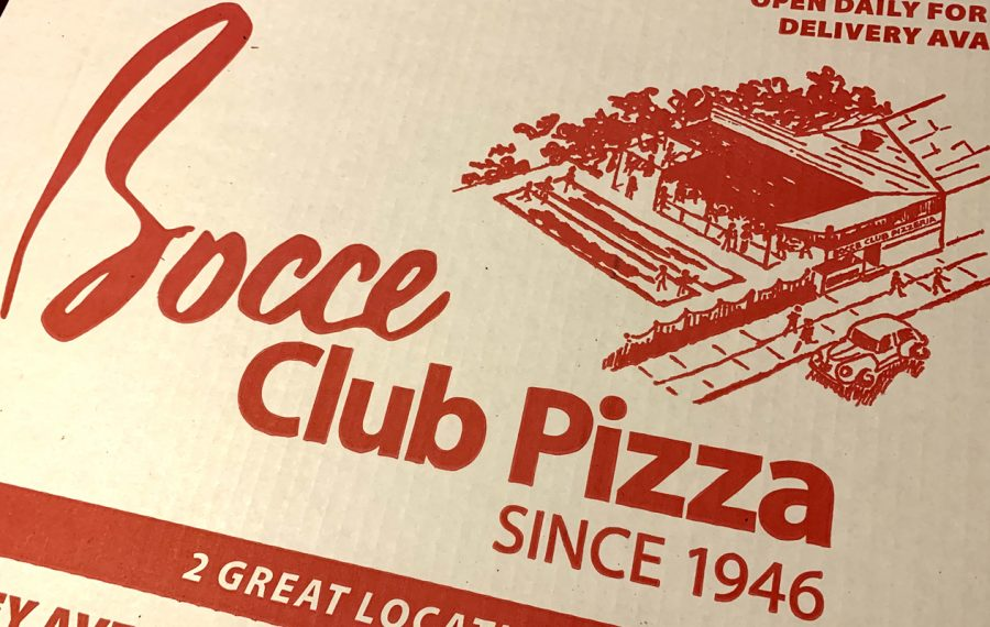 A line drawing of the original Bocce Club location, complete with bocce courts, is still on the box of every pie sold by the current Bocce Club Pizza.