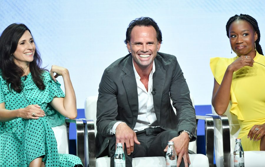 """""""The Unicorn,"""" airing at 8:30 p.m. Thursdays on CBS this fall, stars, from left, Michaela Watkins, Walton Goggins and Maya Lynne Robinson. (Getty Images)"""
