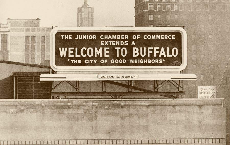 This billboard was built on the roof of Memorial Auditorium and welcomed drivers coming into Buffalo via the Skyway in 1958.