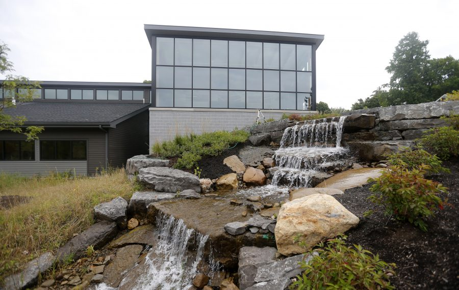 """The Knopp-Hailpern Science Center, Park School's new $6 million  STEM building, features a man-made creek that pumps water from a pond on the property, a project that has created a """"new ecosystem"""" on the property. (Mark Mulville/Buffalo News)"""