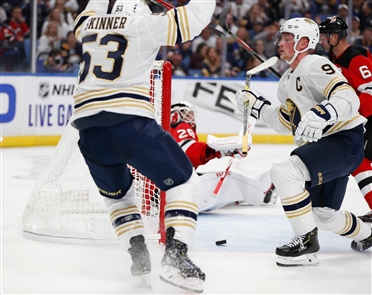 The fans offered standing ovations as the Buffalo Sabres under new coach Ralph Krueger soundly defeated the New Jersey Devils 7-2 in KeyBank Center Saturday, Oct. 5, 2019.