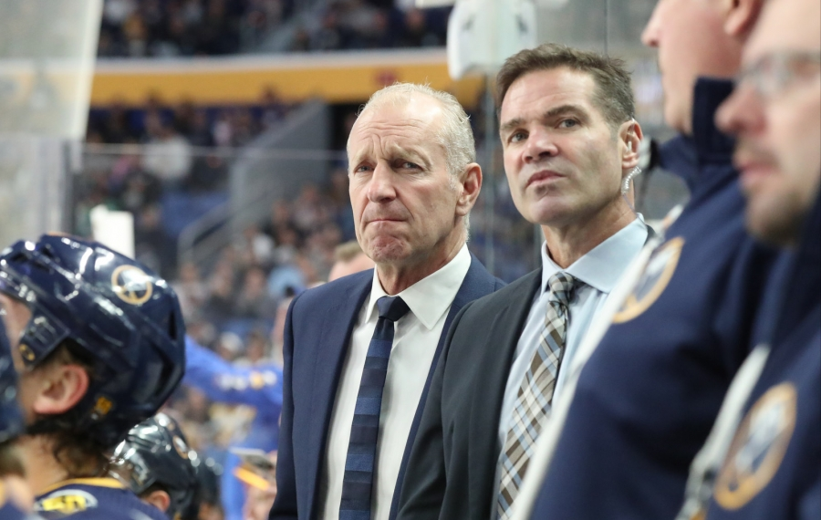 Sabres head coach Ralph Krueger, left, directs his team from the bench against Dallas.  (James P. McCoy/Buffalo News)