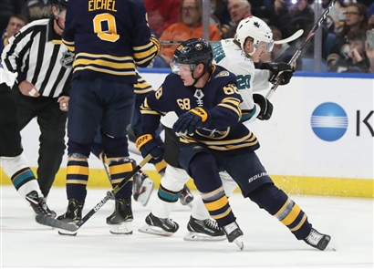 The Buffalo Sabres beat the San Jose Sharked, 4-3, with an overtime win on Tuesday, Oct. 22, 2019, at KeyBank Center.
