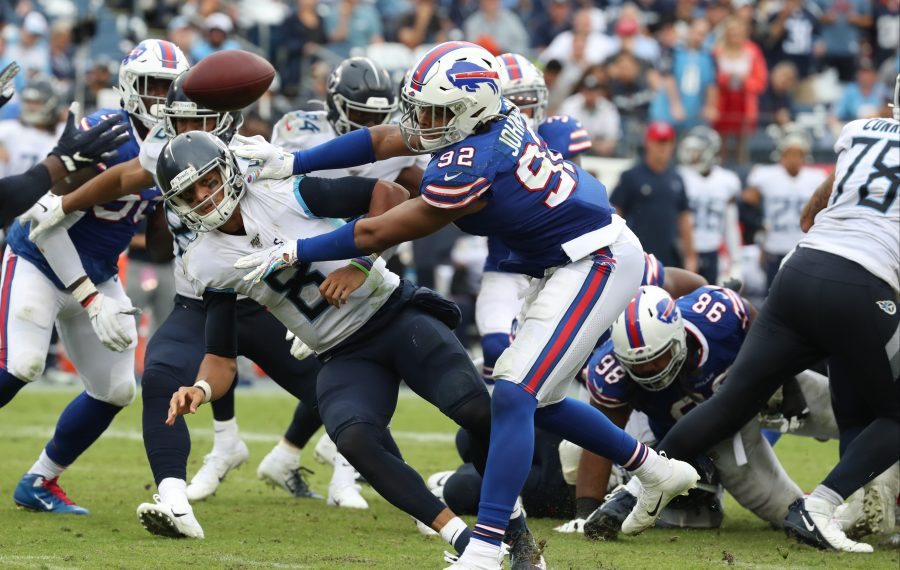 Bills defensive end Darryl Johnson pressures Titans quarterback Marcus Mariota in the fourth quarter. (James P. McCoy/Buffalo News)