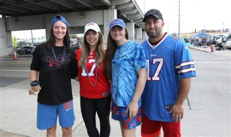 Buffalo Bills fans enjoy tailgating in Nashville, Tenn., on Sunday, Oct. 6, 2019.