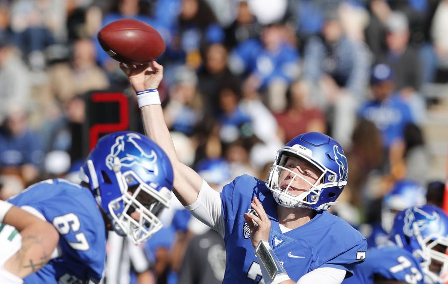 Buffalo Bulls quarterback Kyle Vantrease (7) makes a throw in the first quarter at UB Stadium in Amherst on Oct. 5. (Mark Mulville/Buffalo News)
