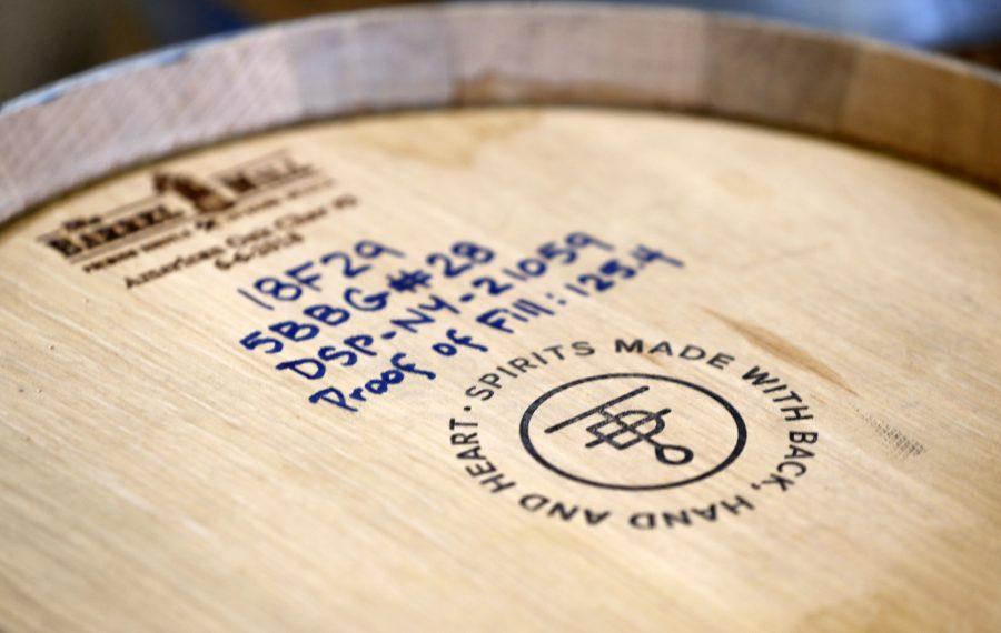 A barrel of spirits at the Tommyrotter Distillery on Seneca Street. (Mark Mulville/Buffalo News)