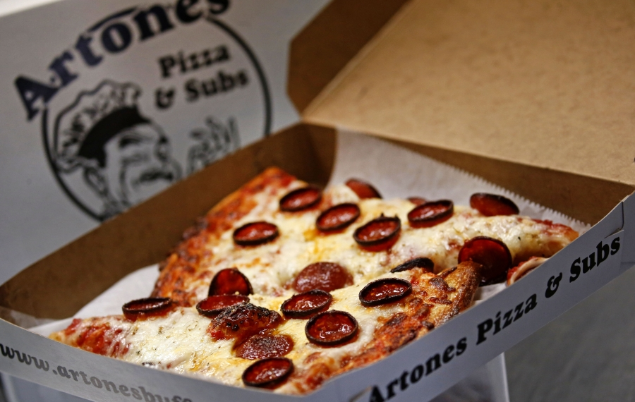 Grab slices of cheese and pepperoni pizza to-go at Artone's Pizza & Subs in South Buffalo. These photos were taken at a separate time from the @SexySlices review.  (Robert Kirkham/Buffalo News)