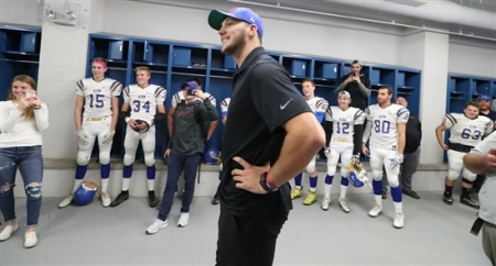 Josh Allen surprised the Burgard and Alden high school football teams before the start of their game at Riverside High School on Friday, Oct. 11, 2019.