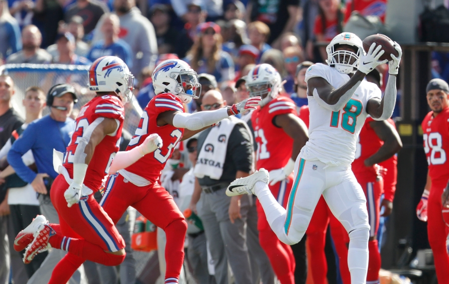 The Miami Dolphins nearly came into Buffalo and pulled off a massive upset, but the Bills' defense held on. (Mark Mulville/Buffalo News)