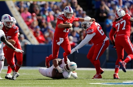 Game action of the Miami Dolphins vs. Buffalo Bills at New Era Field on Sunday, Oct. 20, 2019. The Bills improved to 5-1 after the 31-21 win.