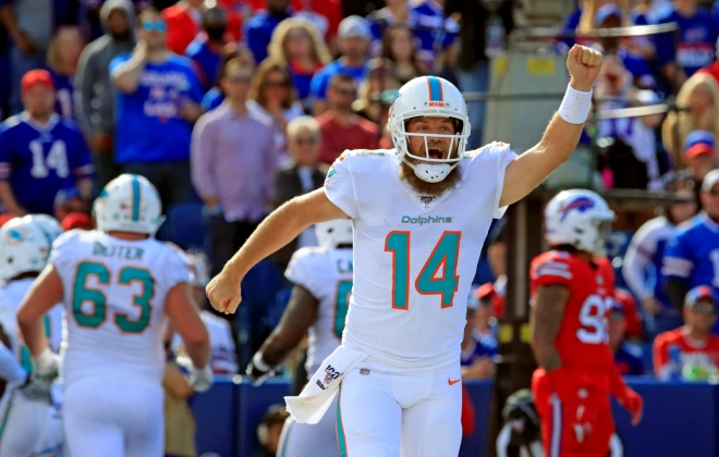 Dolphins quarterback Ryan Fitzpatrick has led his team to consecutive victories. (Harry Scull Jr./Buffalo News)