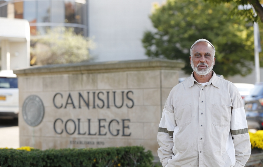 """Luis """"Khalil"""" Nieves was fired from his part-time reference librarian job at Canisius College for going beyond his job description when helping students and proposing programs. (Mark Mulville/Buffalo News)"""