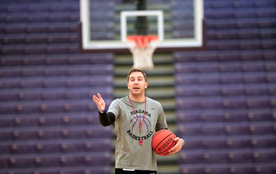 Niagara basketball interim baskeball coach Greg Paulus during practice at the Gallagher Center on Thursday, Oct. 17, 2019. (Harry Scull Jr./Buffalo News)
