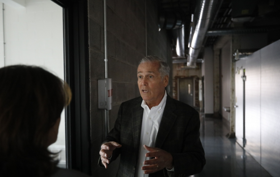 Developer Rocco Termini gives a tour of the recently completed renovation at 37 Chandler St. (Derek Gee/Buffalo News)