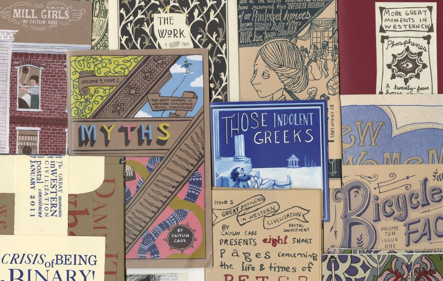 """A celebration of 10 years of """"Great Moments in Western Civilization Postal Constituent"""" by Caitlin Cass will be displayed at the Western New York Book Arts Center."""