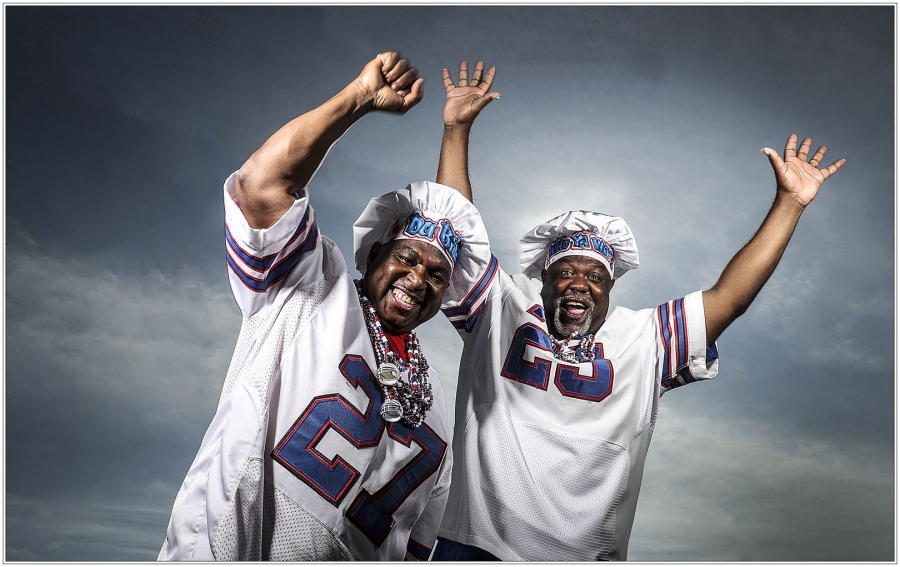 Derrick Norman and Richard Peterson, known to Bills fans as Chef Norm and Chef Poo (James P. McCoy/Buffalo News)
