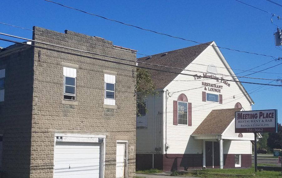The former Bergholz Fire Co. hall and the Meeting Place diner, planned to become a brewery and restaurant, as seen Oct. 9, 2019. (Thomas J. Prohaska/Buffalo News)